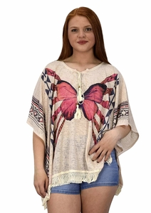 Peach Couture Butterfly Print Tasseled Light weight Summer Cover Up Cardigan Beige