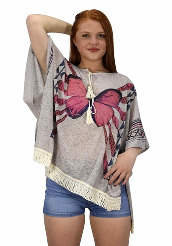 Peach Couture Butterfly Print Tasseled Light weight Summer Cover Up Cardigan Grey