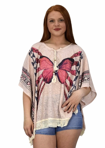 Peach Couture Butterfly Print Tasseled Light weight Summer Cover Up Cardigan Pink