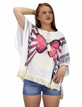 Peach Couture Butterfly Print Tasseled Light weight Summer Cover Up Cardigan White