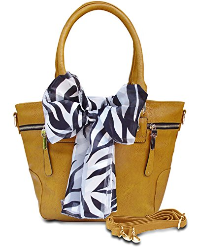 CAMILLE Oversized Zipper Accent Top Handle Tote Tied Scarf Handbag (Yellow)