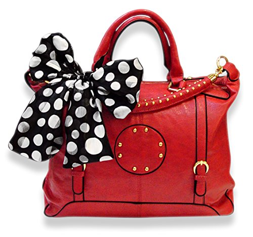 Oversized Metal Circle Design Tote Satchel Handbag Tied Scarf (Red)