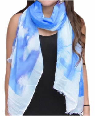 Colorful Feather Floral Print Fringe Beach Cover Shawl Wrap Scarf (Blue/White)