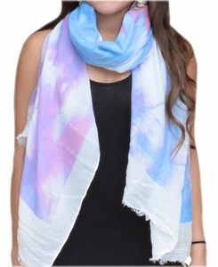 Colorful Feather Floral Print Fringe Beach Cover Shawl Wrap Scarf (Coral/Purple)