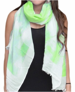 Colorful Feather Floral Print Fringe Beach Cover Shawl Wrap Scarf (Green/White)
