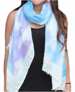 Colorful Feather Floral Print Fringe Beach Cover Shawl Wrap Scarf (Purple/White)