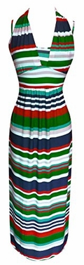 Peach Couture Colorful Light Striped Halter Thin Strap Vacation Maxi Dress (Large, Green/Orange)</font>