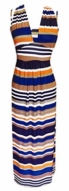 Colorful Light Striped Halter Thin Strap Vacation Maxi Dress (Brown/Blue)</font>