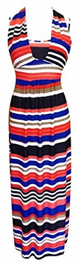 Peach Couture Colorful Light Striped Halter Thin Strap Vacation Maxi Dress (Red/Blue)</font>