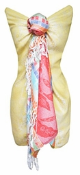 Colorful Rainbow Pastel Paisley Floral Fringe Pashmina Wrap Shawl (Yellow)