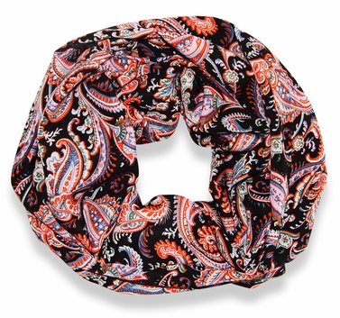 Colorful Victorian Damask Lightweight Infinity Loop Scarf (Black)