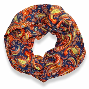 Colorful Victorian Damask Lightweight Infinity Loop Scarf (Dark Blue)