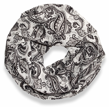 Colorful Victorian Damask Lightweight Infinity Loop Scarf (Grey)