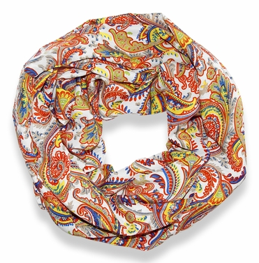 Colorful Victorian Damask Lightweight Infinity Loop Scarf (Orange)