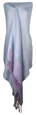 Elegant Vintage Jacquard Paisley Shawl Wrap (Baby Blue/ Light Purple)