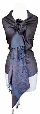 Elegant Vintage Jacquard Paisley Shawl Wrap (Chocolate Brown/Grey)