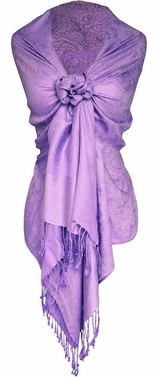 Elegant Vintage Jacquard Paisley Shawl Wrap (Light Purple) Limit 1 per Household