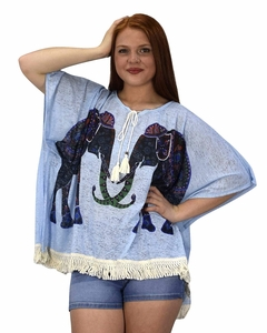 Peach Couture Elephant Print Tasseled Light weight Summer Cover Up Cardigan Blue