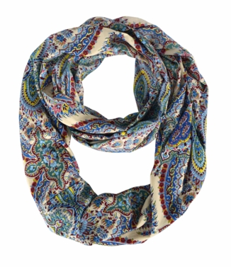 Exclusive Colorful Rainbow Paisley Print Infinity Loop Scarf (Blue Beige)