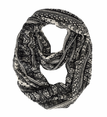 Exclusive Exotic Aztec Tribal Print Infinity Loop Wrap Scarf (Black/White)