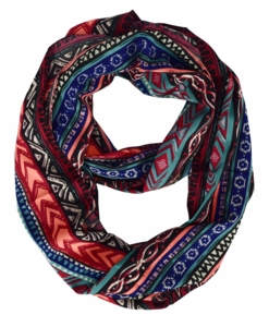 Exclusive Exotic Aztec Tribal Print Infinity Loop Wrap Scarf (Neon/Coral)