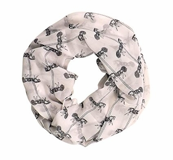 Exclusive Fun and Cute Variety of Prints Infinity Loop Scarves (Off White Horse)