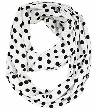 Exclusive Fun and Cute Variety of Prints Infinity Loop Scarves (White Polka)