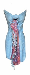 Exclusive Paisley Floral Border Reversible Pashmina Wrap Shawl (Blue)