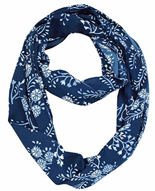 Exclusive Vintage Floral Prints Infinity Loop Scarves Light Scarf (Navy)