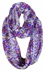 Exclusive Vintage Floral Prints Infinity Loop Scarves Light Scarf (Purple Sheer)