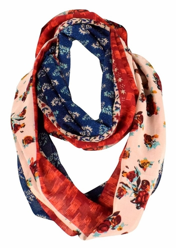 Exclusive Vintage Floral Prints Infinity Loop Scarves Light Scarf (Tan/Red)