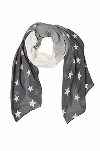 Exclusive Womens Vibrant Patriotic Fading Star Print Light Scarf (Grey)