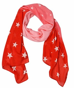 Exclusive Womens Vibrant Patriotic Fading Star Print Light Scarf (Red)