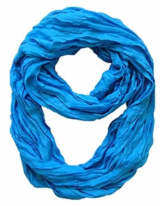 Peach Couture Fashion Lightweight Crinkled Infinity Loop Scarf (Blue)