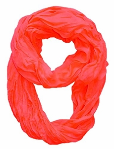Peach Couture Fashion Lightweight Crinkled Infinity Loop Scarf (Coral)