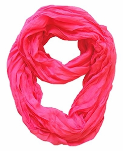 Peach Couture Fashion Lightweight Crinkled Infinity Loop Scarf (Fuchsia)
