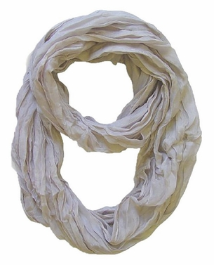Peach Couture Fashion Lightweight Crinkled Infinity Loop Scarf (Silver)