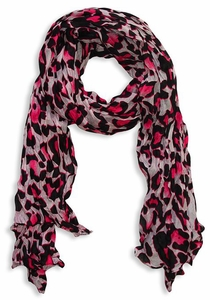 Fashionable Women's Leopard Animal Print Crinkle Scarf Wrap (Fuchsia/White)
