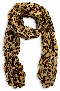 Fashionable Women's Leopard Animal Print Crinkle Scarf Wrap (Yellow)