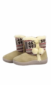 Peach Couture Faux Suede Fleece Lined Snowflake Kids Winter Snow Shearling Boots Beige
