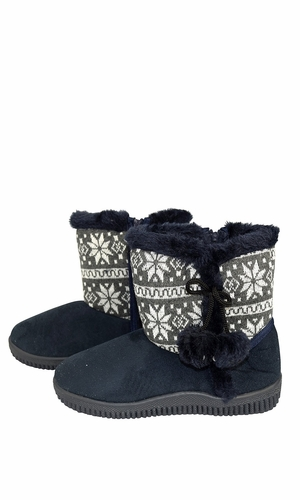 Peach Couture Faux Suede Fleece Lined Snowflake Kids Winter Snow Shearling Boots Navy