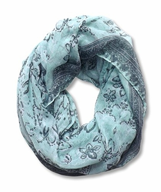 Floral Tattoo Paisley Print Lightweight Infinity Loop Scarf (Mint)