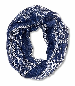 Floral Tattoo Paisley Print Lightweight Infinity Loop Scarf (Navy)