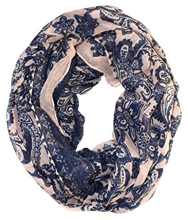 Floral Tattoo Paisley Print Lightweight Infinity Loop Scarf (Peach)