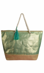 Peach Couture Gold Weave Large Travel Tote Hobo Handbags Shoulder Bags Green