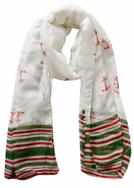 All American Patriotic  Navy Olympic Anchor Scarf Shawl (Green/Red)