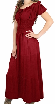 Gypsy Boho Cap Sleeves Smocked Waist Tiered Renaissance Maxi Dress (Crimson Red)
