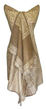 High Grade 4 Ply Reversible Paisley Pashmina Hand Made Shawl (Brown/Tan)