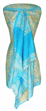 High Grade 4 Ply Reversible Paisley Pashmina Hand Made Shawl (Turquoise/Tan)
