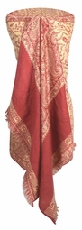 High Grade 4 Ply Reversible Paisley Pashmina Hand Made Shawl (Cream/Pink)
